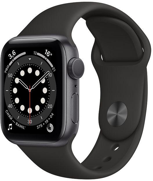 Умные часы APPLE Watch Series 6 40 мм (алюминий серый космос/черный)