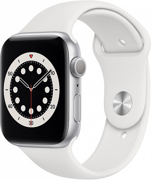Умные часы APPLE Watch Series 6 44 мм (алюминий серебристый/белый спортивный)