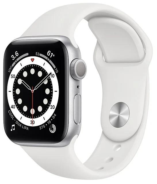 Умные часы APPLE Watch Series 6 40 мм (алюминий серебристый/белый спортивный)