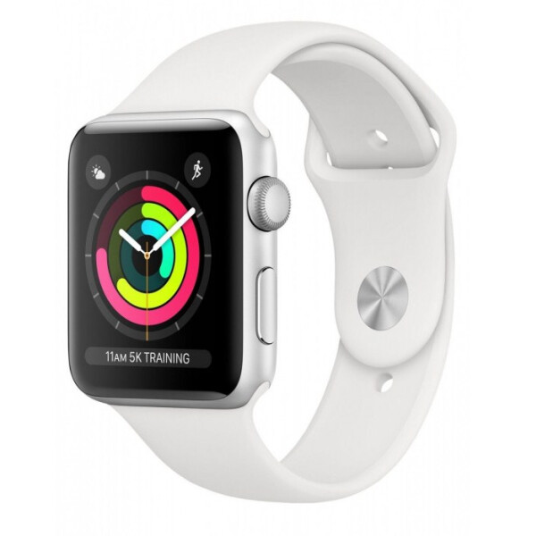 Смарт-часы APPLE Watch Series 3 Silver Aluminium Case with White Sport Band 38mm (MTEY2GK/A)