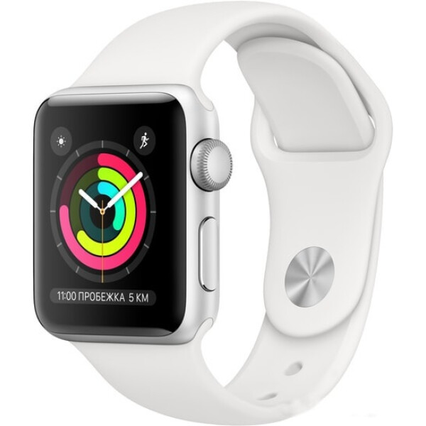 Смарт-часы Apple Watch Series 3 GPS 38mm Silver Aluminium Case with White Sport Band MTEY2FS/A