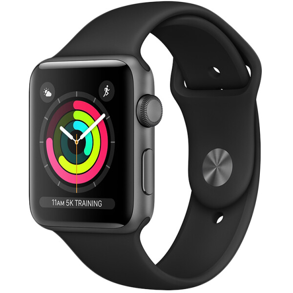 Смарт-часы APPLE Watch Series 3 Space Grey Aluminium Case with Black Sport Band 38mm (MTF02GK/A)